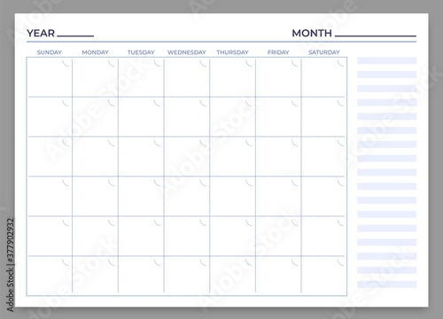 Obraz Monthly planner template. Vector month and week plan, calendar daily, time weekly stationery print to work illustration - fototapety do salonu