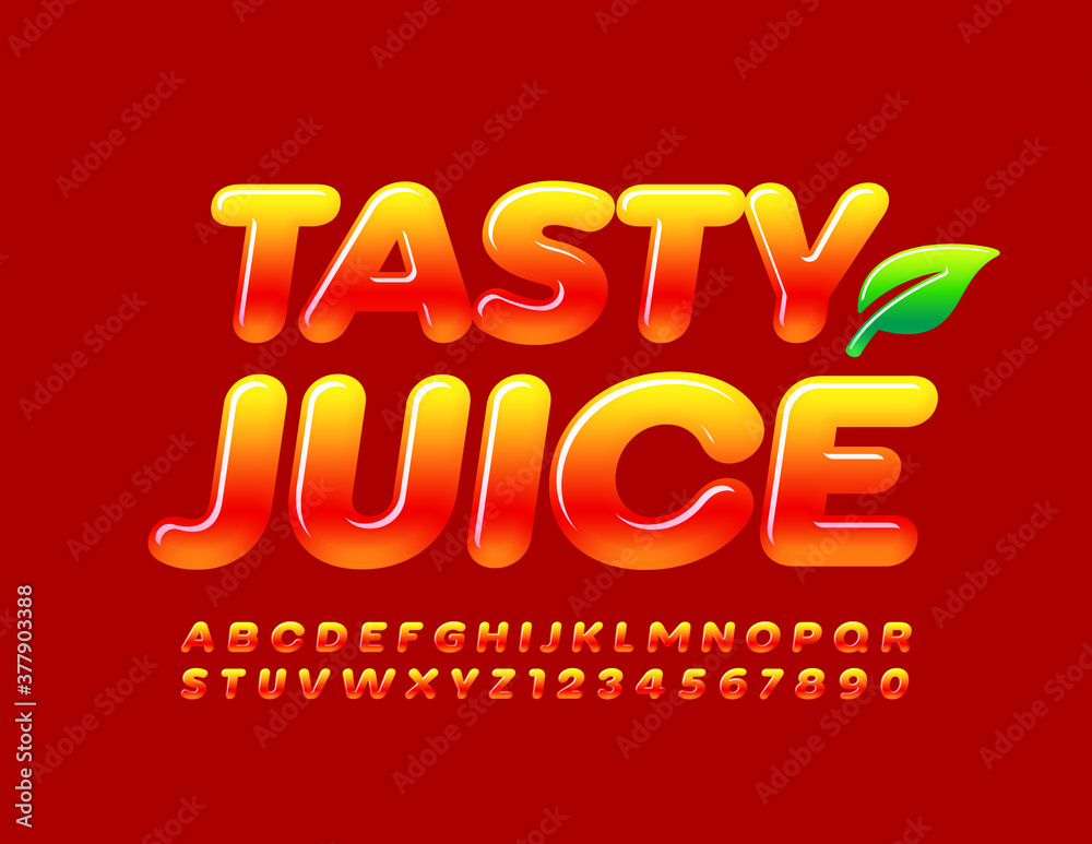 Fototapeta Vector bright logo Tasty Juice. Glossy Gradient Font. Yellow and Red Alphabet Letters and Numbers