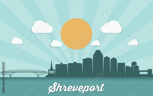 Платно Shreveport skyline - Louisiana, United States of America, USA - vector illustrat