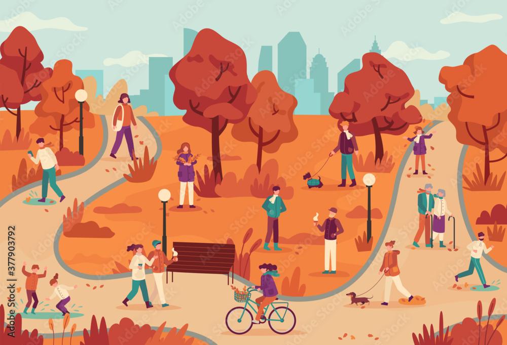 Fototapeta People in autumn park. Women and men relaxing outdoor, ride bike park, walking dog, jogging, enjoy fall season vector background. Autumn park season with people walking running and enjoy illustration