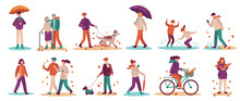 People In Fall Season. Men And Women Walk Street, Ride Bicycle, Walking Dog. Young And Adults Umbrella In Autumn Park Vector Set. Illustration Woman And Man In Autumn Weather With Dog And Umbrella