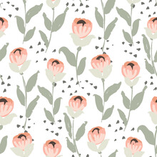 Rosie Flower Stems Seamless Ve...