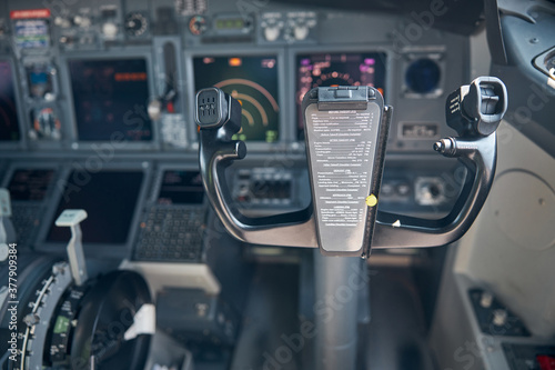 Foto Airplane cockpit with control column and flight displays