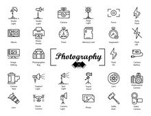 Photographer Studio Vector Icon Set,  Video Production Equipment Design, Filmmaking Gear Set, Essential Vlogging Kit On White Background