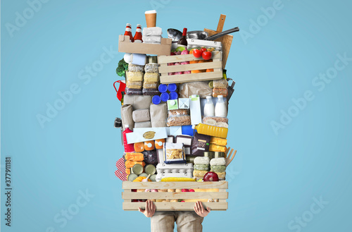 A huge pile of food stacked on a wooden crate. Food concept.