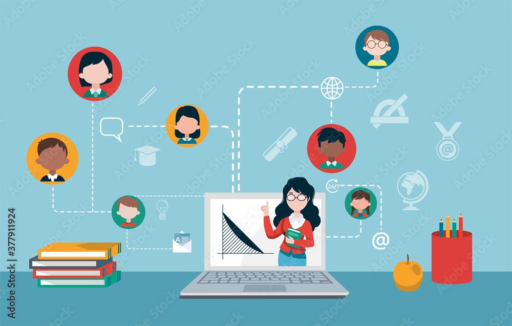 Fototapeta Vector of a teacher and group of children studying online