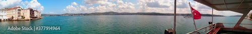 Photo Panorama View Bosphorus of Istanbul from ferry.