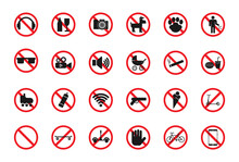 Signs Prohibiting Entry To The Cinema, Shop, Church, Beach, Entertainment Center, Public Places. Vector Illustration
