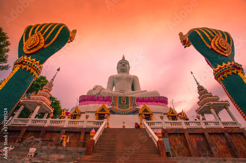 The background of a bridge or a walkway to admire the mountain scenery resembles a Phaya Naga mortgage statue, (Wat Phra Bat Phu Pan Kham) in Khon Kaen Province, Thailand Wallpaper Mural