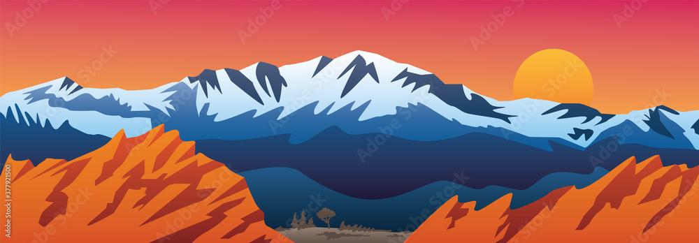 Fototapeta Mountains Valley and Red Rocks Scenic Landscape Vector Illustration