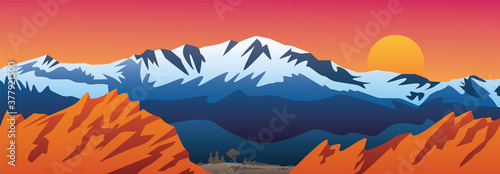 Mountains Valley and Red Rocks Scenic Landscape Vector Illustration