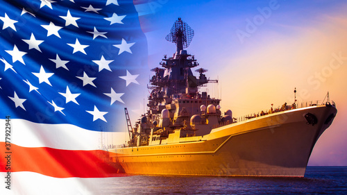 Foto Battleship on the background of the American flag