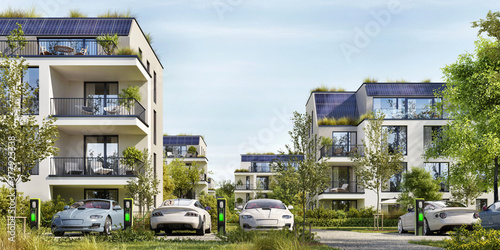 Modern residential buildings with solar panels Canvas Print