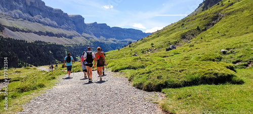 Slika na platnu Group of backpackers, people hiking and trekking in Ordesa national park, Pyrene