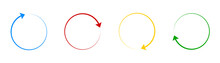 Rotate Color Arrow Icon Collection. Vector Rotation Circle Pointer Set.
