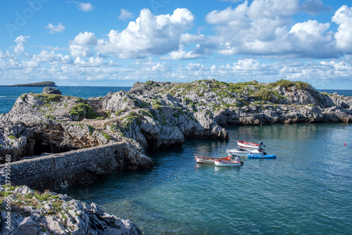 Photo boats in Islares, Cantabria, Spain.