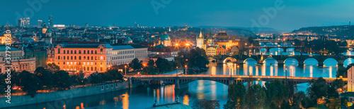 Prague, Czech Republic. Panoramic View Of Prague Cityscape Skyline During Twilight Dusk Evening Night Time. Famous Beautiful Travel Destination