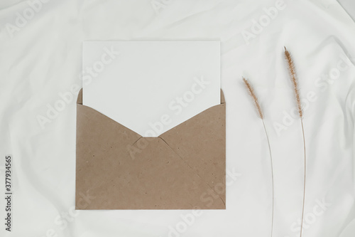 Fototapeta Blank white paper is placed on the open brown paper envelope with Bristly foxtail dry flower on white cloth. Mock-up of horizontal blank greeting card. Craft paper envelope on white background obraz