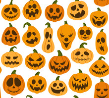 Halloween Pattern With Vector Scary, Spooky, Creepy Pumpkins Of Various Shapes And Emotions In Flat Style On White Background.