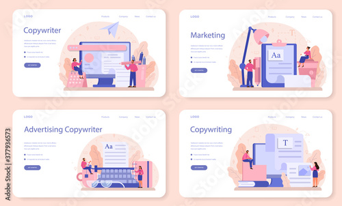 Fototapeta Copywriter web banner or landing page set. Idea of writing texts obraz
