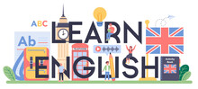 Learn English Class Typographic Header. Study Foreign Languages In School