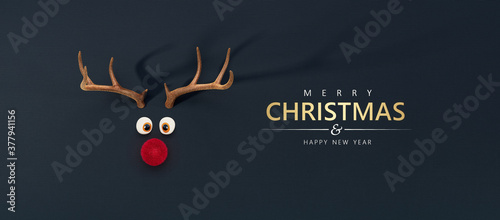 Reindeer toy with cold red nose Christmas background concept 3D Rendering