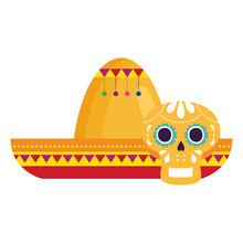 Yellow Skull With Hat Mexican, On White Background Vector Illustration Design