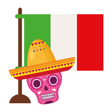 Flag Mexican And Pink Skull With Hat, On White Background Vector Illustration Design