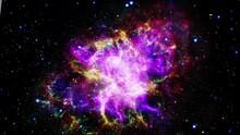 Flight Into The Colorful Crab Nebula Pulsar Supernova Galaxy Animation