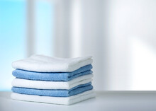 Stack Of Towels On Table,house...
