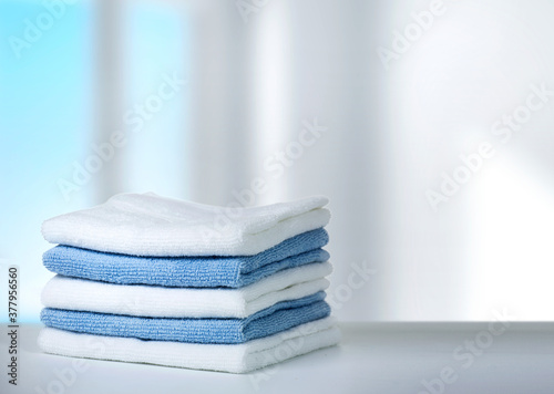 Fototapeta Stack of towels on table,household and laundry. obraz
