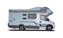 French Motorhome Side View Isolated On White