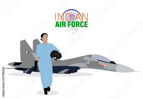 Vector Illustration of Indian Air Force Day observed on October 8.