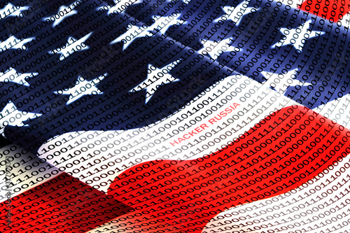 Binary code with inscription hacker russian on background of American flag Wallpaper Mural