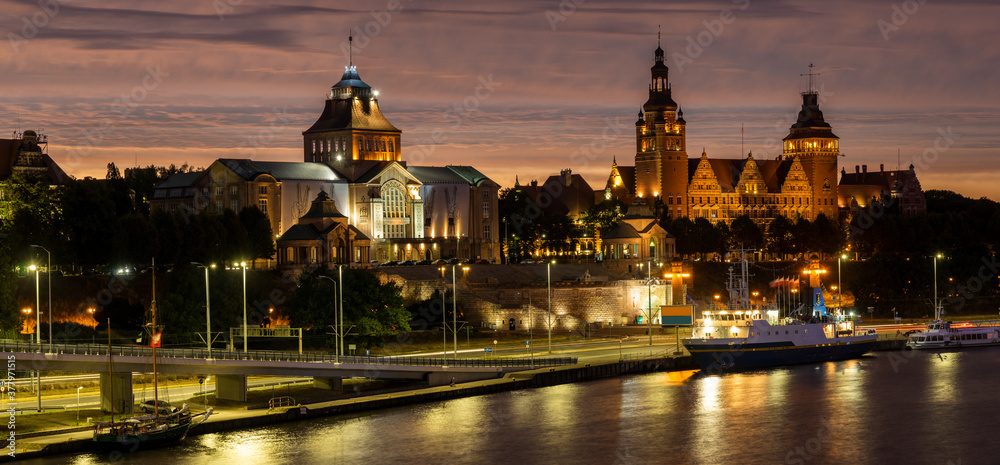 Fototapeta Night view on the Szczecin city, Poland