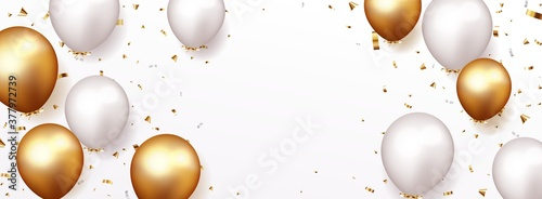 Celebration banner with gold confetti and balloons Fototapeta