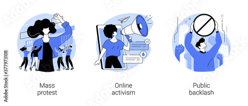 Social movement abstract concept vector illustration set. Mass protest, online activism, public backlash, political rights, racial equity, social media, bias and discrimination abstract metaphor.