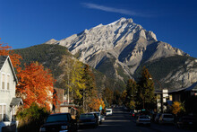 Imposing Cascade Mountain From Beaver Street In Banff In Autumn