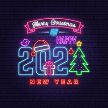 We Wish You A Very Merry Christmas And Happy New Year Neon Sign Set With Snowflakes, Christmas Tree, Gift.