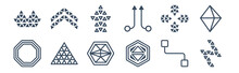 12 Pack Of Icons. Thin Outline Icons Such As Lightning Bolt Polygonal, Metatron Cube, Multiple Triangles Triangle, Ornamental Rotating Polygonal, Polygonal Arrow Up, Ascendant For Web And Mobile