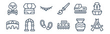 12 Pack Of Icons. Thin Outline Icons Such As Swords, Viking Ship, Ancient, Digger, Bracelet, Sphinx For Web And Mobile Apps, Logo