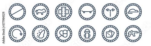 12 pack of icons Fotobehang