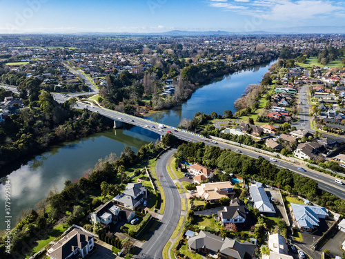 Photo Aerial view of the Waikato River looking East towards Chartwell in Hamilton, New
