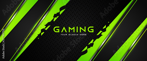 Fotografija Futuristic green and black abstract gaming banner design with metal technology concept