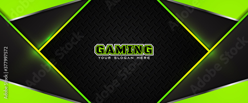 Futuristic green and black abstract gaming banner design with metal technology concept Fototapeta