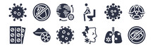 12 Pack Of Black Filled Icons. Glyph Icons Such As Eyes, Pain, Lips, Amoeba, Diarrhea, Epidemic, Touch For Web And Mobile Apps, Logo