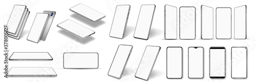 Fotografia, Obraz A large number of different smartphones - isometric, frontal, perspective