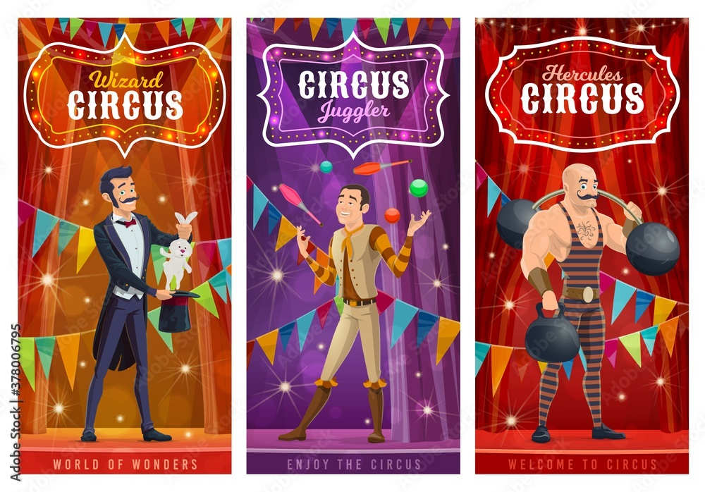 Fototapeta Circus performers vector banners. Big top artists illusionist, juggler and strongman cartoon characters on big top tent arena with show performance. Wizard perform circus stunt with rabbit in hat