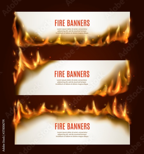 Obraz Burning paper horizontal banners, vector blank pages with fire and sparks. Isolated white conflagrant cards template for advertising, Realistic 3d flaming frames, burning smoldering paper sheets set - fototapety do salonu
