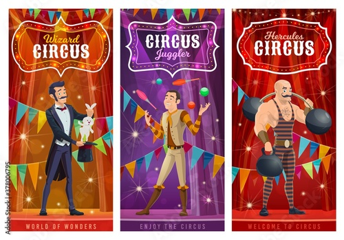 Fototapeta Circus performers vector banners. Big top artists illusionist, juggler and strongman cartoon characters on big top tent arena with show performance. Wizard perform circus stunt with rabbit in hat obraz